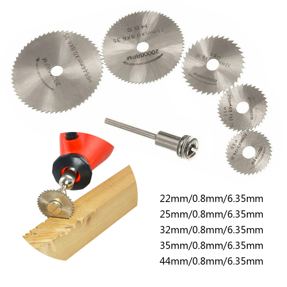 6pcs Mini Circular Saw Blade Set HSS Cutting Disc Rotary Tool Accessories Compatialble For Dremel - Wood Plastic Aluminum