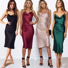 Summer Women Backless Dress Sleeveless Spaghetti Strap Midi Dress Sexy  Club Sexy Solid Satin Party Club Dress все цены