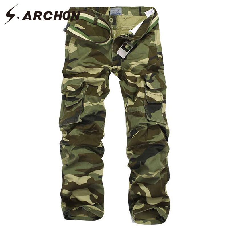 S.ARCHON Military Style Camouflage Tactical Cargo Pants Men SWAT Combat Army Pants Casual Windproof Breathable Cotton Camo Pants