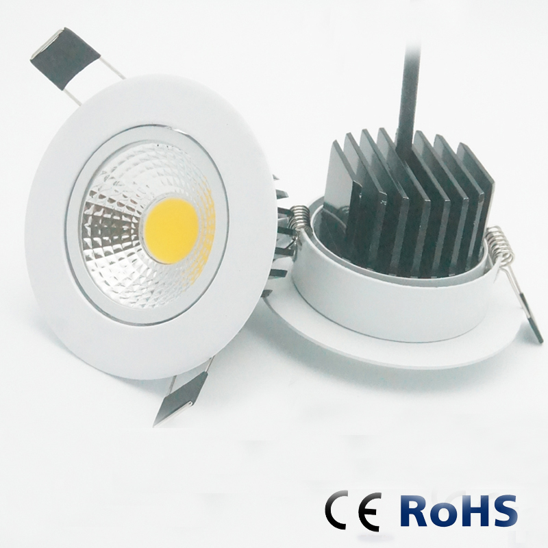 10 pièces 5W 7W 9W 12W Dimmable LED Downlight 110v220v Spot LED DownLights gros Dimmable cob LED Spot encastré vers le bas lumières blanc