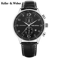 Keller Weber High Quality Water Resistant Calendar Wrist Watch 30ATM Date Display Genuine Leather Band Strap