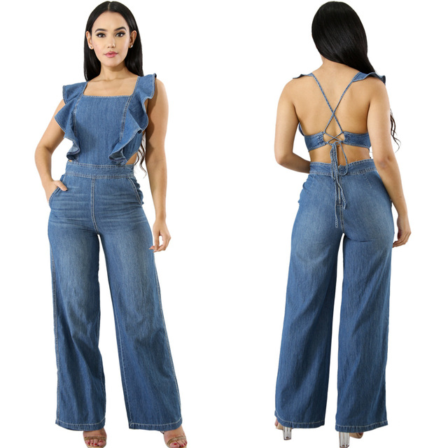 bfa39912d360 Women Fashion Ruffled lace Up Sleeveless Loose Pants Jumpsuits Denim  Backless Female Party Club Sexy Rompers