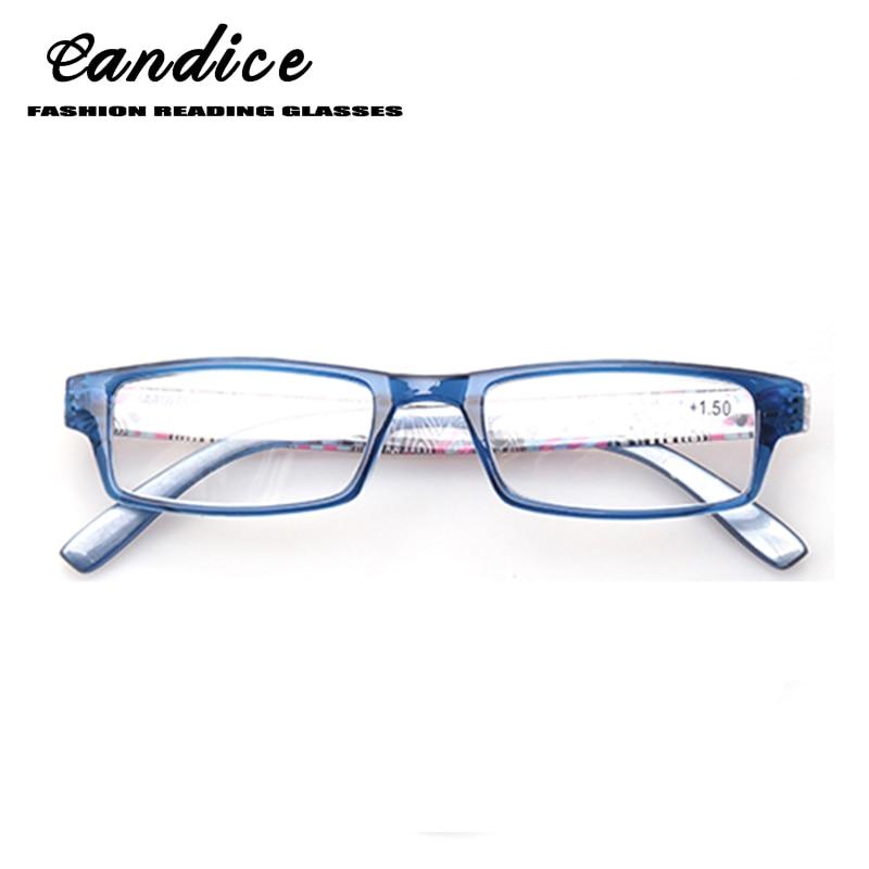 Henotin 패션 인쇄 독서 안경 여성 봄 힌지 사각형 프레임 독자 편안한 안경 0.5