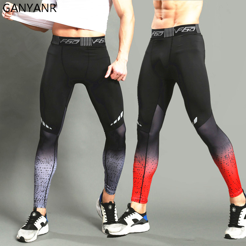 GANYANR Brand Running Tights Menn Sport Leggings Sportswear Long Bukser Yoga Bukser Winter Fitness Compression Sexy Gym Slim