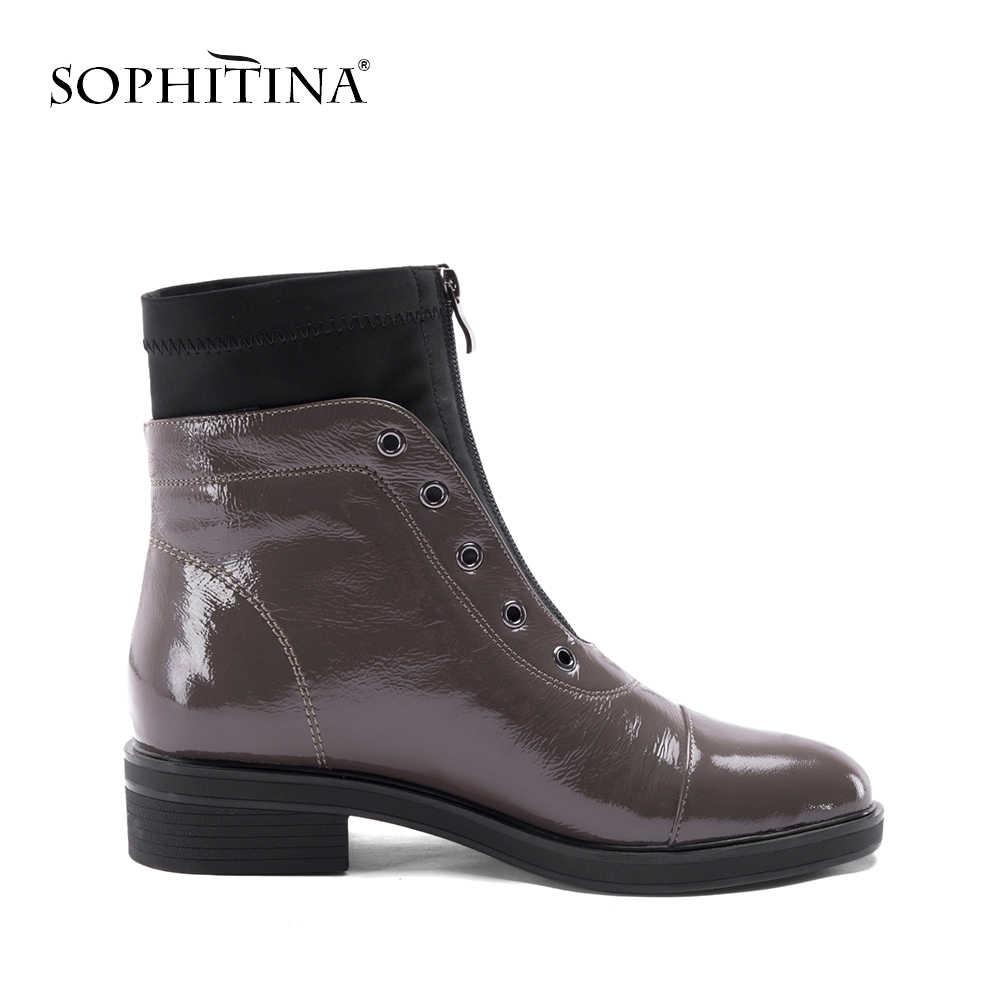 SOPHITINA Kadın Rahat yarım çizmeler Temel Düşük Topuklu Yuvarlak Ayak Siyah Patent Deri Bayan Ayakkabıları Kaliteli El Yapımı Fermuar Çizmeler B76