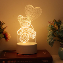 LED Love bear balloon 3D Night light WarmWhite USB Button Acrylic Valentines day gift Reindeer Cat  Shark lights nights lamp