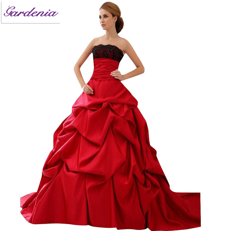 Wedding Ball Gowns 2014: Ball Gown Sleeveless Open Back Taffeta 2014 Red And Black