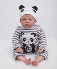 22″ Baby-reborn dolls 100% handmade  real soft silicone vinyl soft dolls sleeping newborn baby dolls children gift boneca