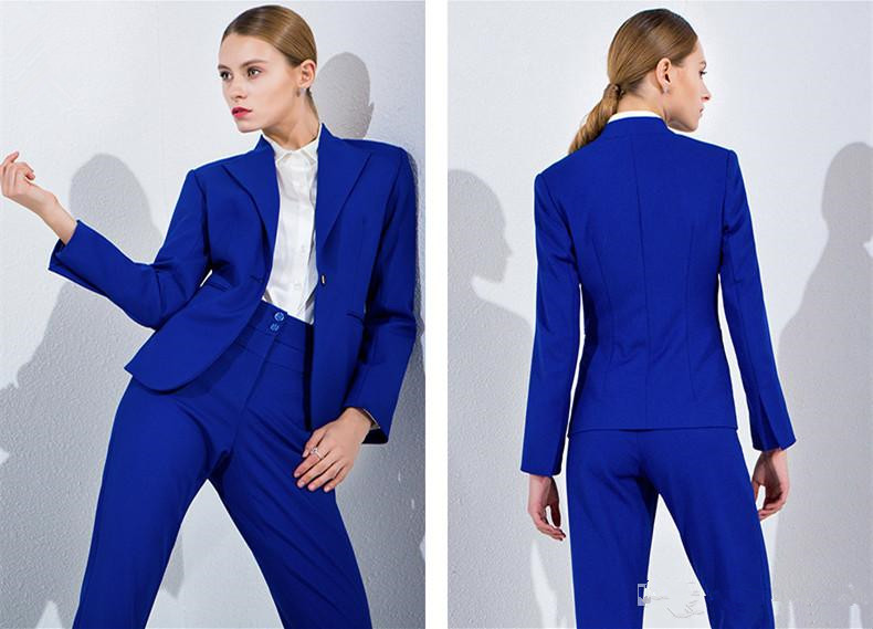 Femmes Pantalon color Royal Ensemble As Dames Color Bussiness Blazer Formelle Bleu satin Élégant Chart Travail Bureau Costumes Costume Pantalons Picture Show BrXBpz