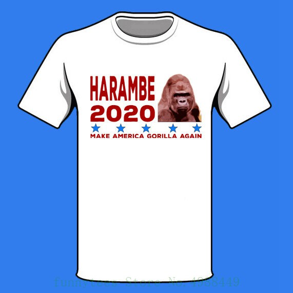 New Harambe 2020 Shirt Make America Gorilla Donald Trump Meme Spoof Funny Tshirt Cotton Cool Design 3d Tee Shirts image