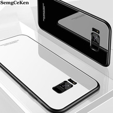 SemgCeKen luxury original hard glass mirror case for samsung galaxy note 8 9 note8 note9 silicone back coque phone cover etui