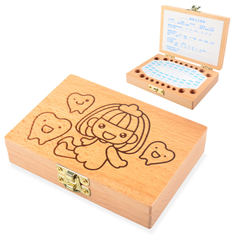 Children tooth box organizer wood milk teeth box for kids Collect and save