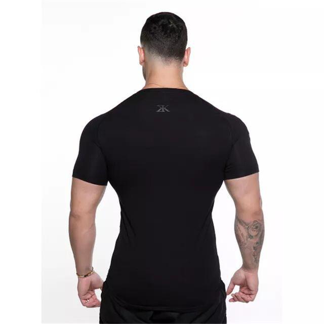 HETUAF 2019 Neue Baumwolle T Shirt Männer Atmungsaktiv T-Shirt Homme Turnhallen T shirt Männer Fitness schwarz