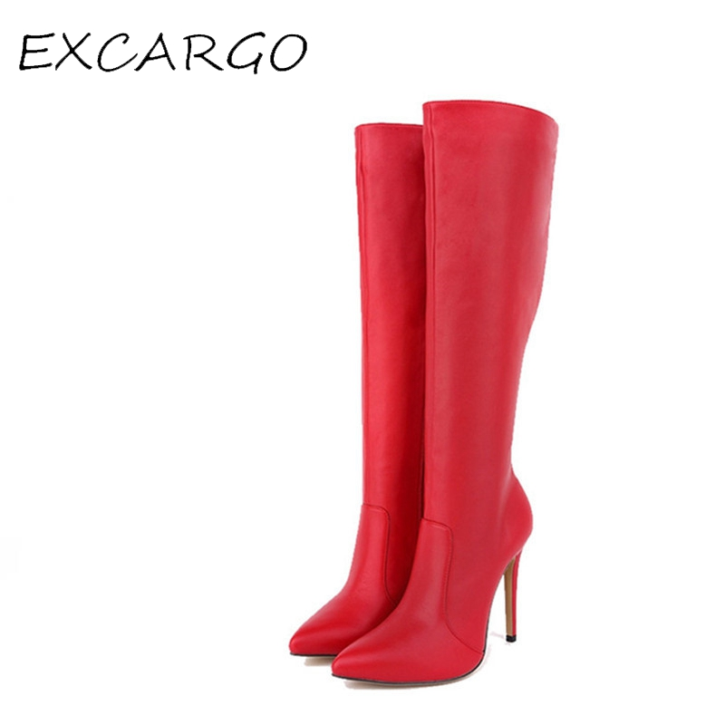 Red Sexy High Heels Boots Women Pointed Toe Long Boots Knee High Side Zipper Autumn High Shoes Ladies Boots Big Size 10