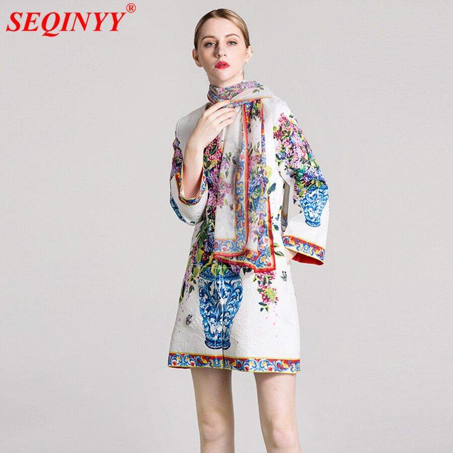 Jacquard Long Jacket Big Size Colorful Flower Printed 2017 Fashion Runway New Long Sleeve Beading Insect