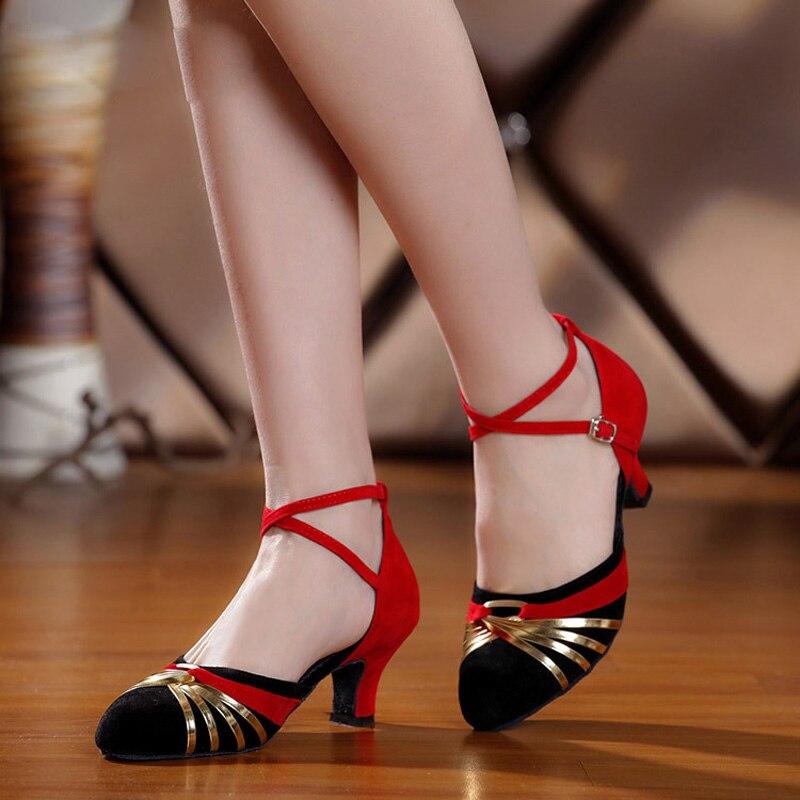 Turnschuhe Tanzschuhe Kenntnisreich Frau Ballroom Latin Dance Schuhe Heels 3,5/5,5 Cm Weibliche Tango Samba Salsa Social Dance Schuhe Wildleder Sohle Va30560