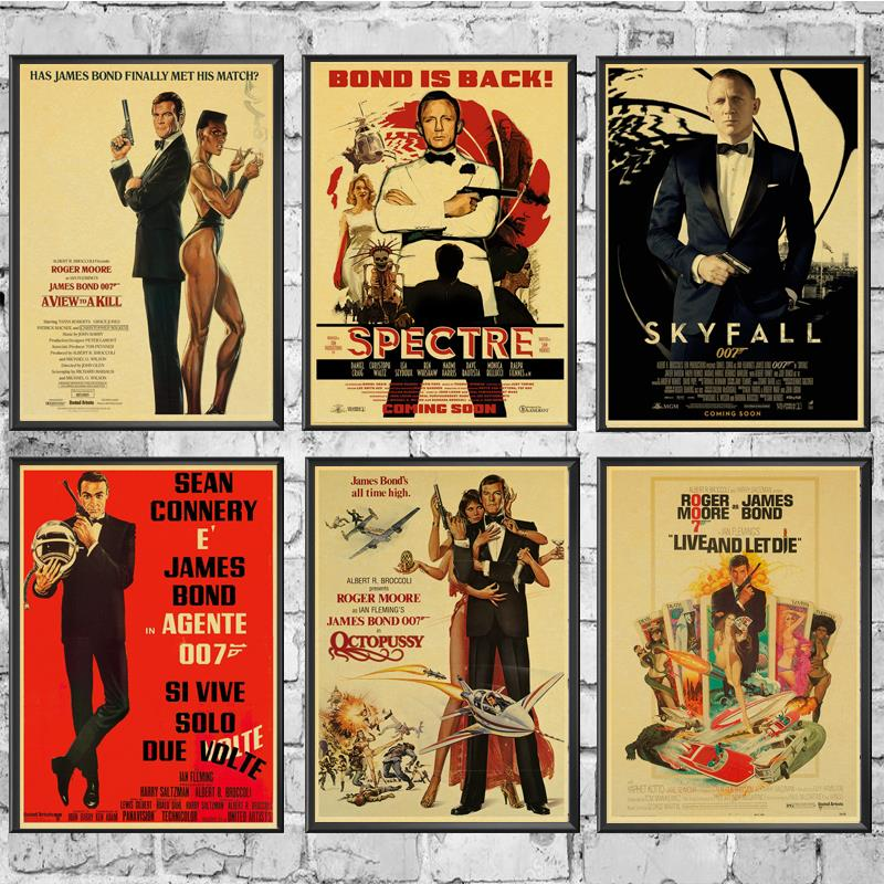 Vintage Poster Movie  James Bond 007 Retro Poster Kraft Paper Wall  For Home/Room/Bar Decor Painting