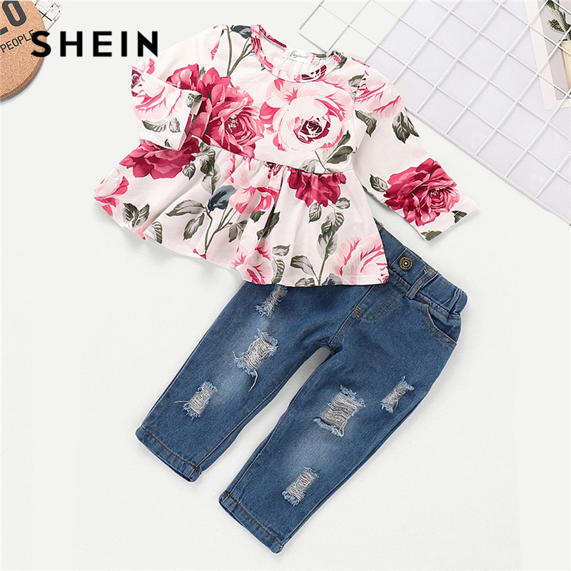 SHEIN Floral Print Top With Ripped Jeans Set Child Casual Teenage Girls Clothing 2019 Spring Fashion Long Sleeve Kids Clothes asymmetrical ripped leggings