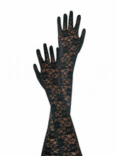 PADEGAO women party lace elbow gloves black hollow sexy Finger Long Gloves costumes accessories prom bride mittens