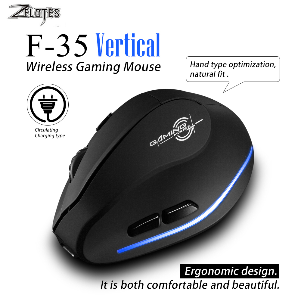 Mouse Raton Zelotes F-35 2.4GHz Vertical Wireless Rechargeable USB 2400DPI 6 Button Gaming