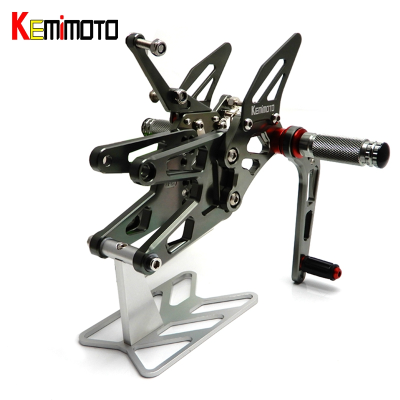 KEMiMOTO CNC Adjustable Rearset Foot Rest Pegs For Yamaha YZF R6 YZF-R6 2003-2005, YZF R6S 2006-2009 Motocyle footrests Set все цены