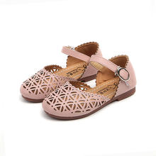 2019 new girls small leather sandals kids hollow princess shoes kids students teenage fashion sandals size 21-35(China)