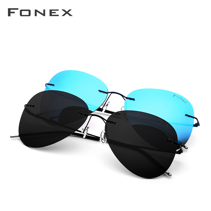 Image 5 - Rimless Sunglasses Titanium Men Brand Designer Ultralight Male 2018 New Light Frameless Aviation Polarized Sun Glasses for Women-in Women's Sunglasses from Apparel Accessories