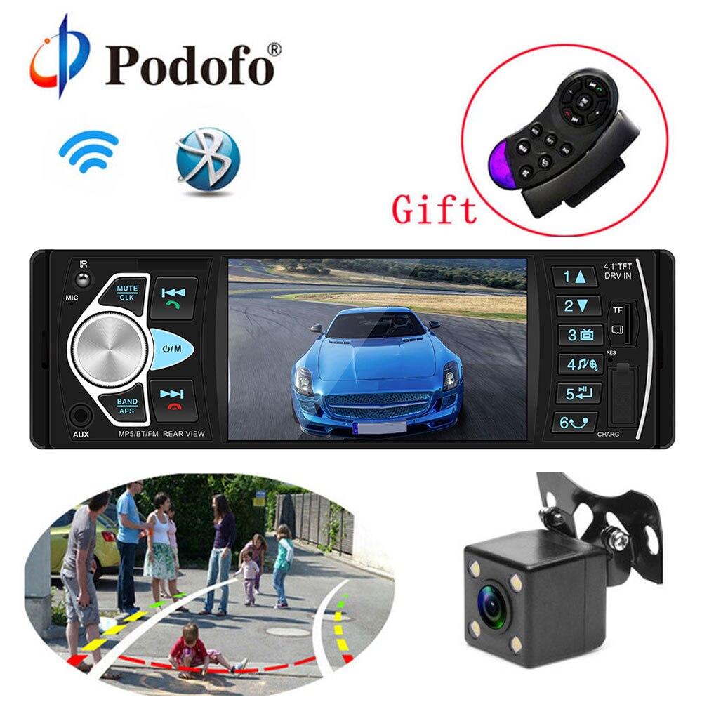 Podofo авто радио 4,1 ''автомобильный 1Din аудио стерео FM Bluetooth руль дистанционное управление Умный динамический Обратный камера