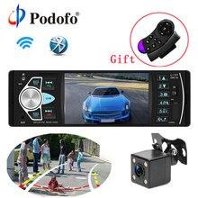 """Podofo Autoradio 4.1 """"Auto Radio 1Din Audio Stereo FM Bluetooth Volante di Controllo Remoto Intelligente Dinamico della Macchina Fotografica di Inverso"""