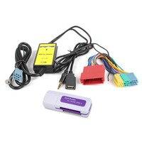2018 למעלה איכות רכב מתאם ממשק USB AUX In קלט MP3 CD לאאודי A2 A4 A6 TT S4 S6 A8 S8 עם Mini ISO 8 P מחבר כחול