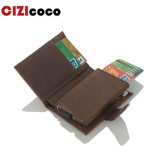 2019 New Antitheft Men Credit Card Holder Blocking Rfid Wallet Leather Unisex Id Holders Aluminum Metal Case