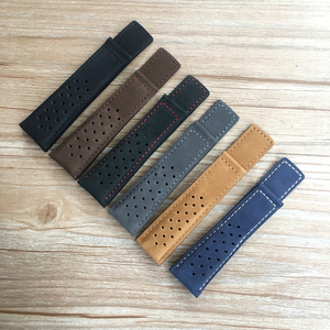 20mm 22mm 24mm Black Blue Gray Brown Mate Genuine Leather Watchband For CARRERA Watch Strap MONACO Wristband AQUARACER Bracelet(China)