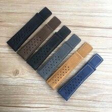 Bracelet 20mm 22mm 24mm, en cuir véritable, noir bleu gris marron, pour montre CARRERA, MONACO