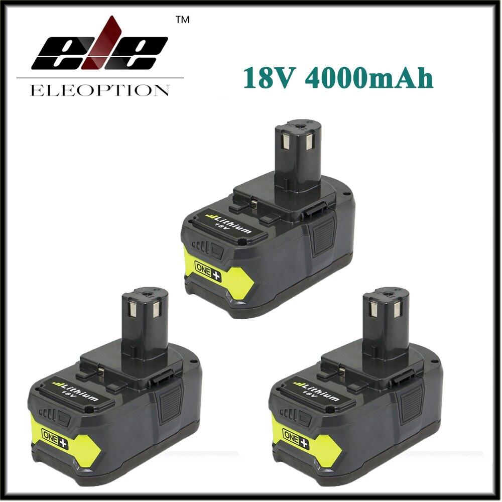 3 pcs High Capacity P108 18V 4000mAh Li Ion For Ryobi RB18L40 P300 P400 Rechargeable font