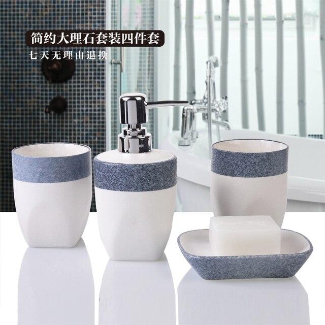 Ceramic Bathroom Set 4pcs 1 Accessories Soap Dispens Toothbrush Holders Box