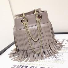 2016 new style fashion small bucket bags handbags women famous brands gold chain tassel bag ladies leather handbag high quality