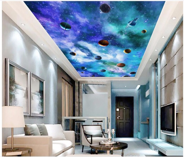 Wallpaper Custom Photo Starry Sky Milky Way Galaxy Ceiling Murals Wall For Walls 3 D Print Fabric