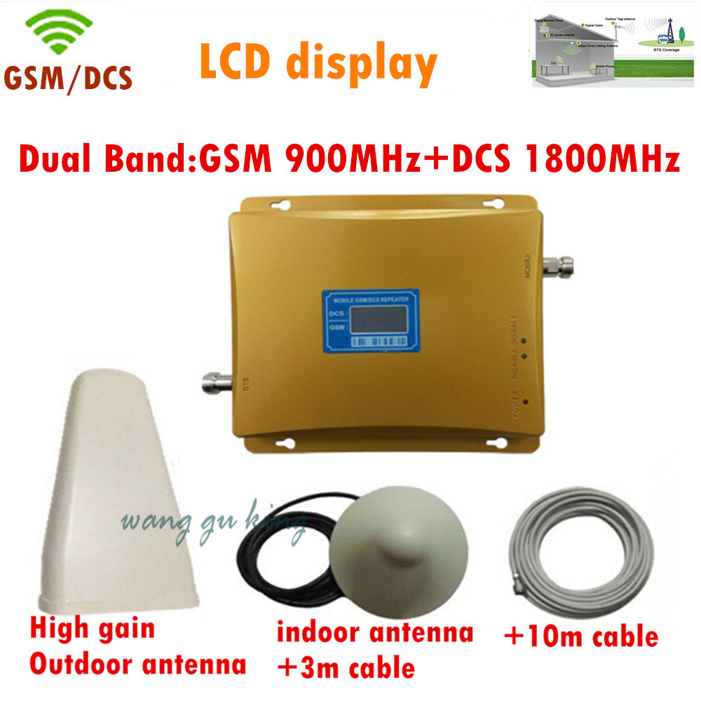 1Set LCD High Power Dual Band GSM 900MHz DCS 1800MHz 65db Mobile Phone Cell Phone Signal Booster Amplifier Repeater With Antenna