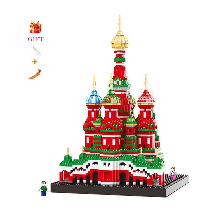 تجميع العمارة سانت باسيل كاتدرائية بناء كتل لعبة للتربية الطوب الاطفال هدايا-في حواجز من الألعاب والهوايات على  مجموعة 1