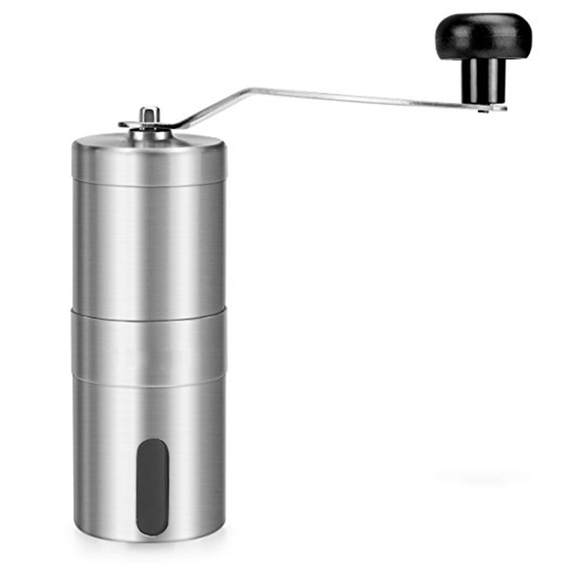 Stainless Steel Manual Coffee Grinder with Ceramic Burr, Hand Crank Coffee Mill with Adjustable Coarseness Screw portable coffee grinder stainless steel ceramic burr hand crank manual coffee grinder for coffee lovers mini hand mill for home