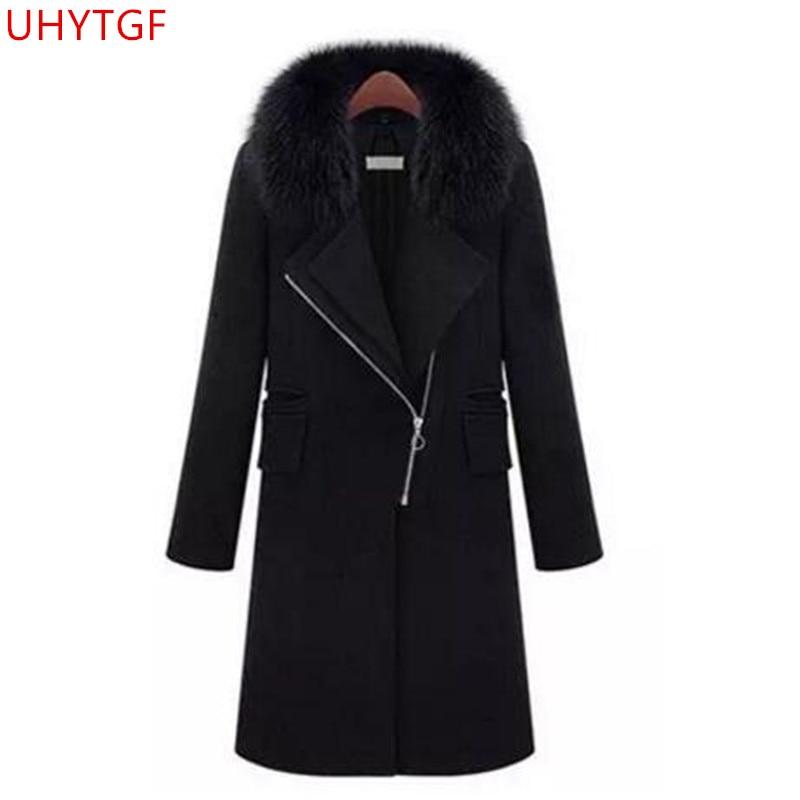 Nouveau Manteaux Femme Black Qualité Plus Haute taille Laine 5xl Épaissir Mode Manteau De Femmes Noir Automne Mince Cachemire Corée Hiver c5jq34LRA