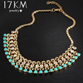 17KM 2016 New Bohemia Crystal Beads Flowers Necklaces For Women Fashion Jewelry boho maxi statement Necklace charm collier