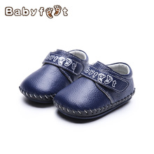 Babyfeet Fashion Babies First Walkers Genuine Leather Breathable Soft Non Skid Rubber Bottom Single Shoes Boys And Girls