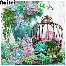 Diamond Painting Flower succulent plants 5D DIY Full circular Drill With Diamonds Decor Picture Of Rhinestone