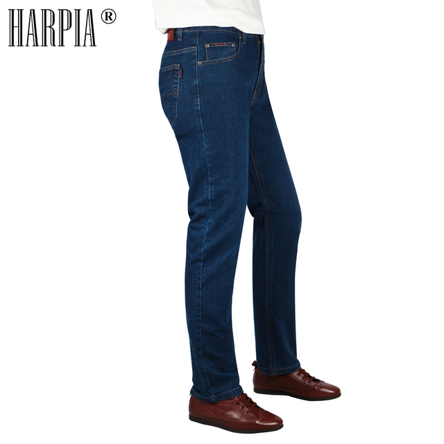 HARPIA High Quality Men Jeans Casual Straight Denim Male Classic Jeans Pants Man Stretch Fashion Heavyweight Trousers Size32-42