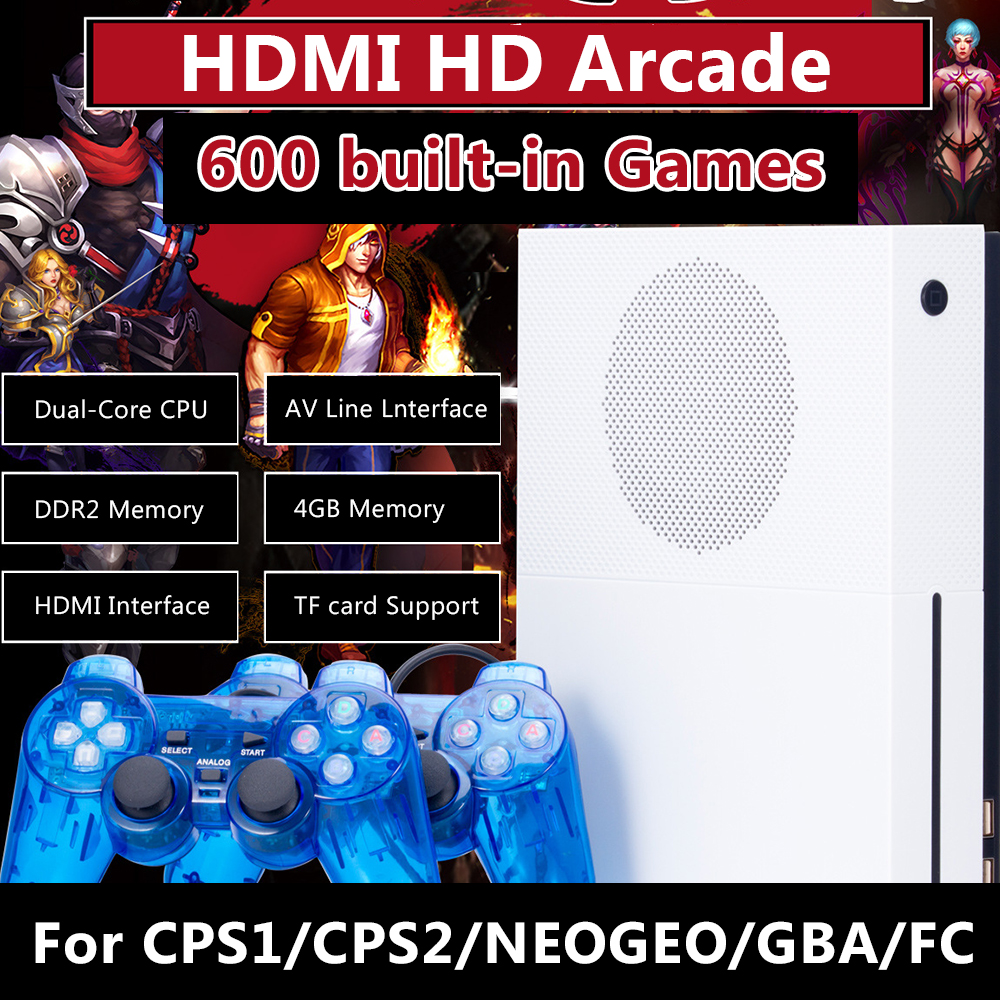New 4GB 600 Classic Games HD TV Game Consoles Video Game Console Support HDMI TV Out For CPS1/CPS2/NEOGEO/Arcade/GBA/MD Format nintendo gba video game cartridge console card metroid zero mission eng fra deu esp ita language version