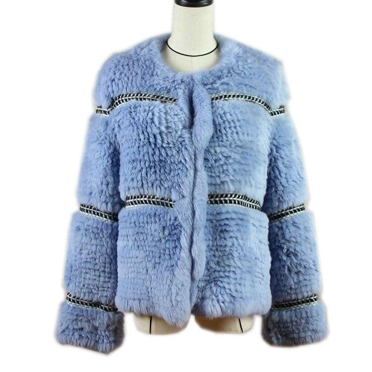 Harppihop Rex knitted Genuine Rabbit fur coat women fashion long rabbit fur jacket Outwear winter fur coat Free shipping
