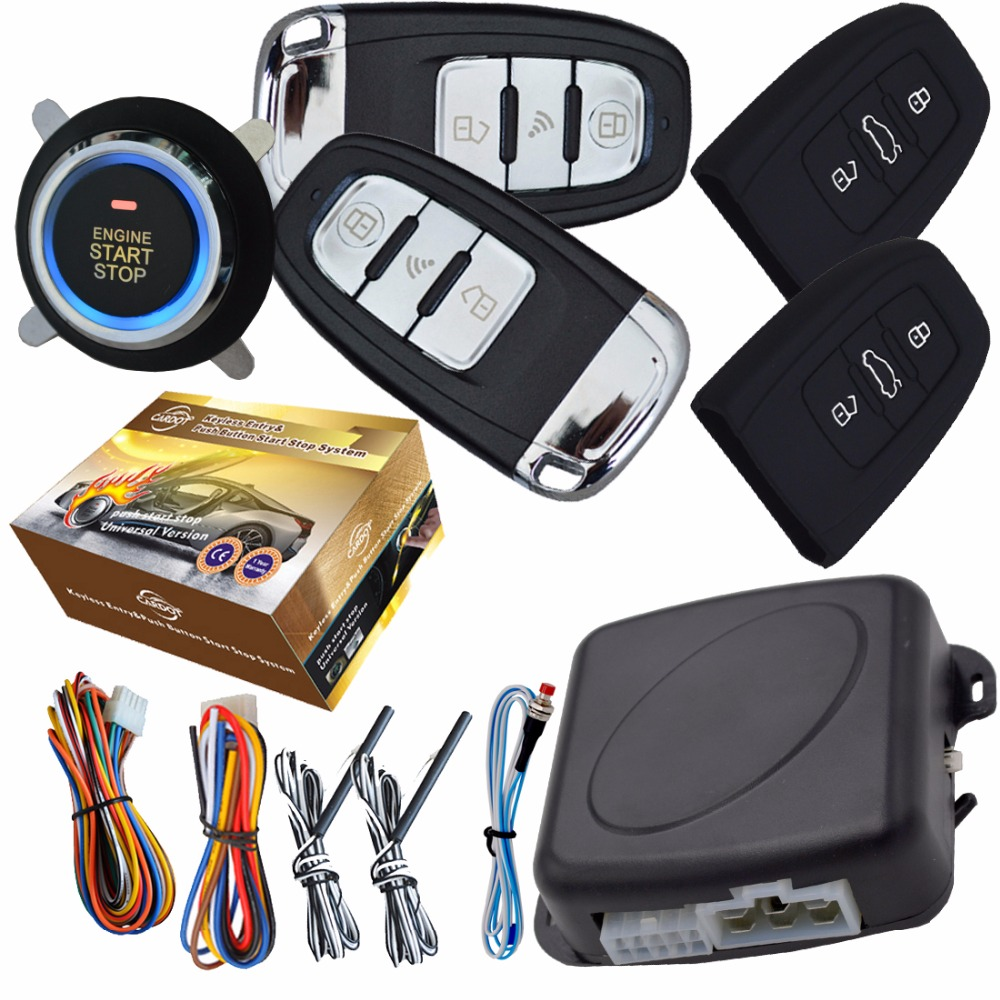 pke car alarm system with ignition start stop feature remote engine start stop auto central lock. Black Bedroom Furniture Sets. Home Design Ideas