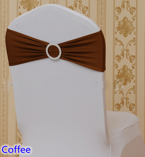 decorative chair covers wedding sports authority chairs coffee colour spandex sashes with round buckles for sash lycra bow tie band wholesale