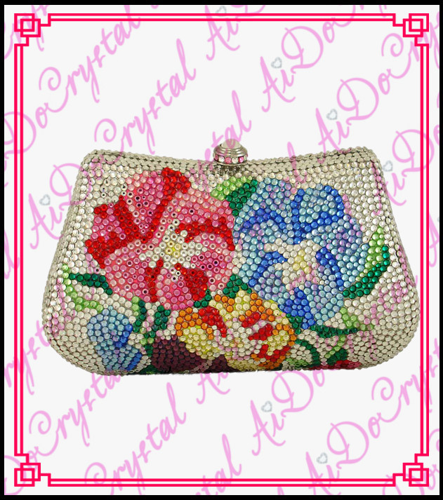 Aidocrystal glamour crystal pave hard flower pattern white clutch handbag for wedding party